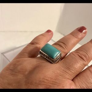 SILVER TURQUOISE RING Sz 6